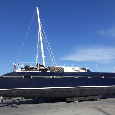 Catamaran Azizam out of the water