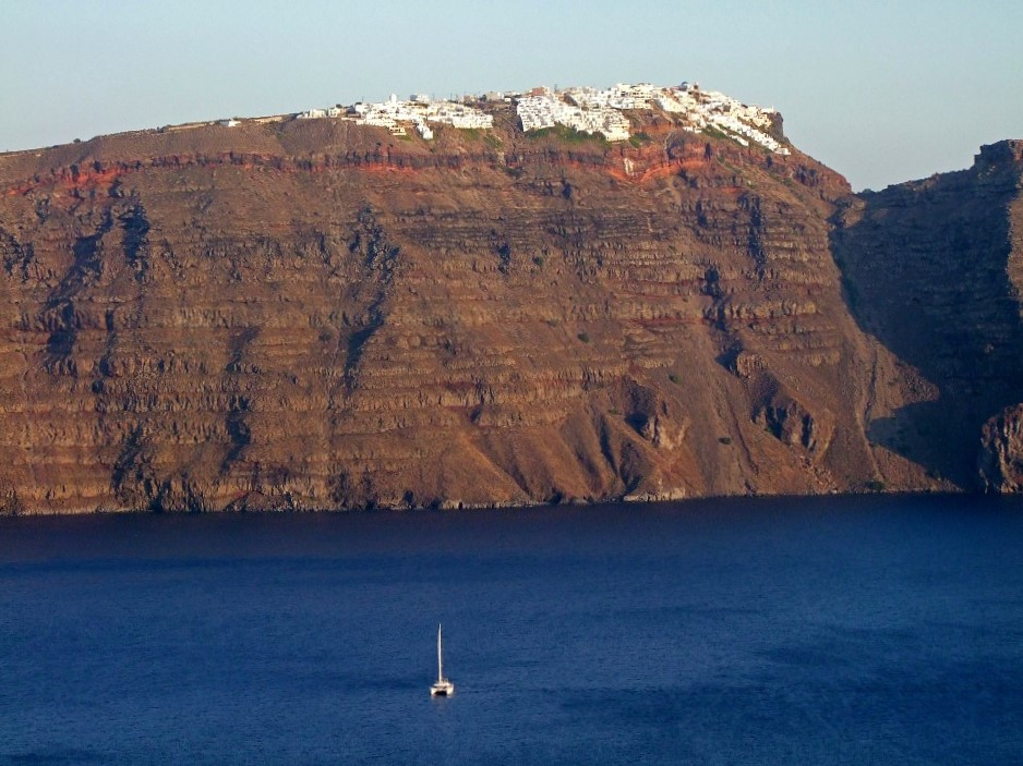 crater rim and caldera, Santorini, Greece