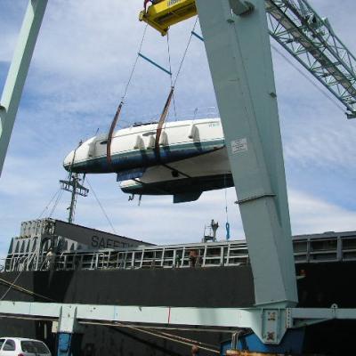 Loading Lavezzi 40 in a cargo-ship
