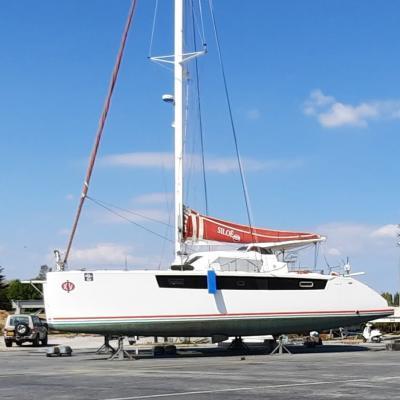Catamaran Phisa XV out of water