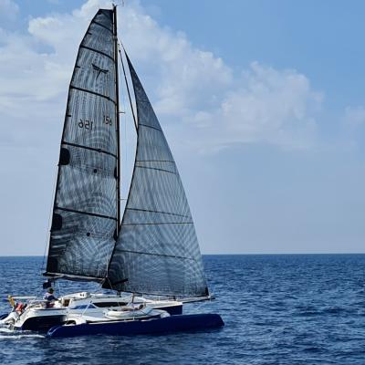 Fast trimaran under sails