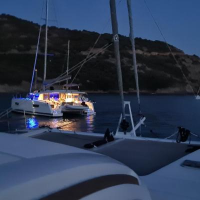 Anchorage by night in corsica